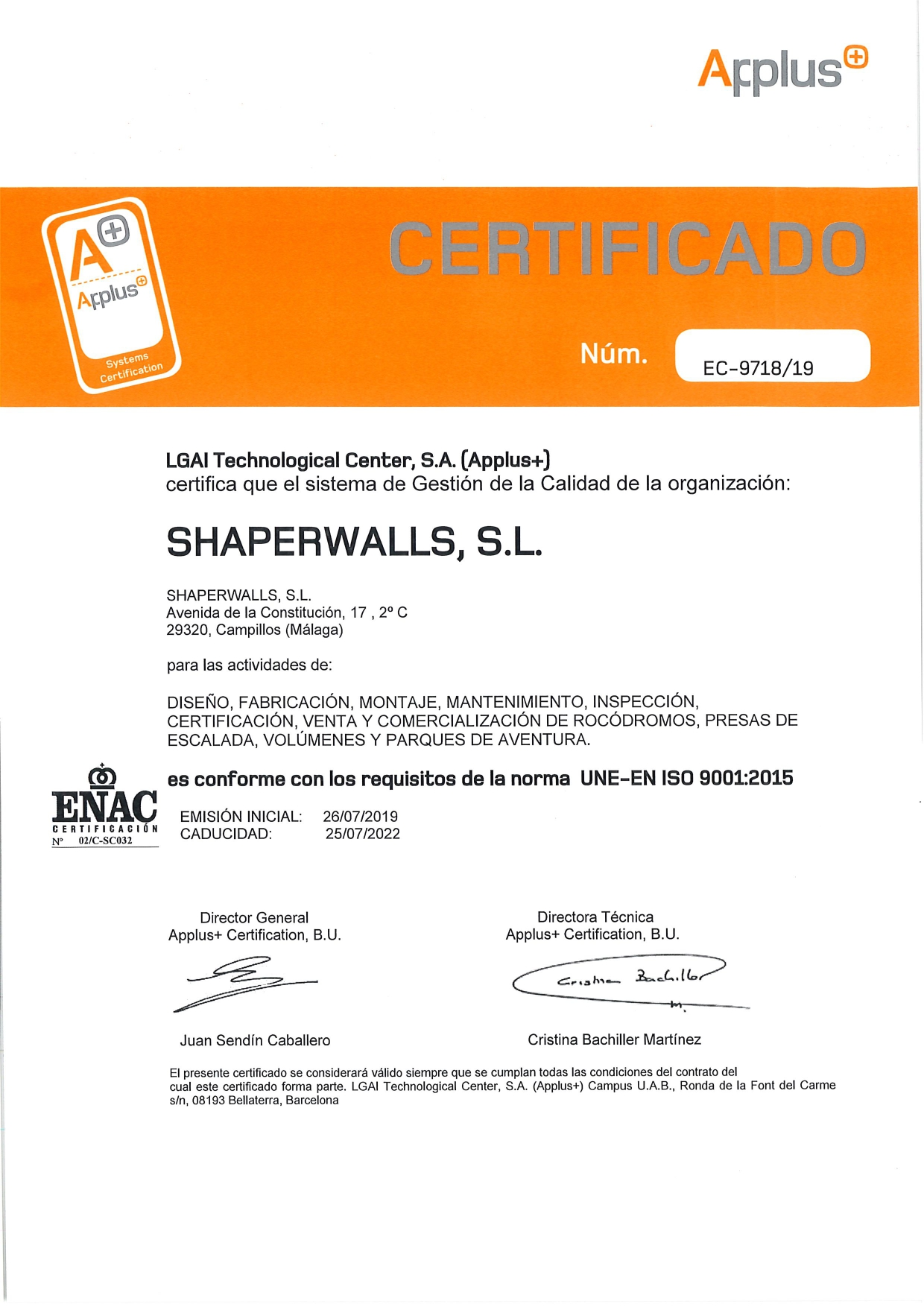 certificados shaperwalls